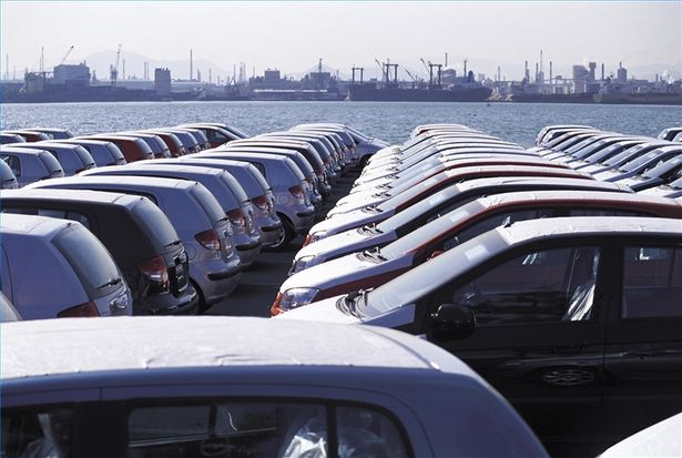 new car import cars on wharf